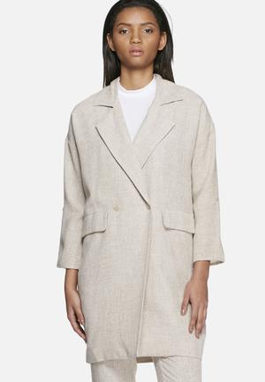 Vero Moda Newzen Long Blazer Jackets Brown Melange
