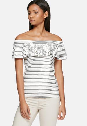 Vero Moda Nohi Frill Off Shoulder Top Blouses White & Black