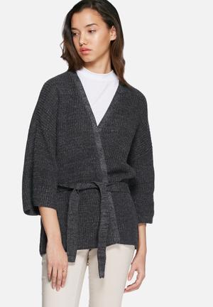 VILA Beaton Knit Cardigan Knitwear Charcoal