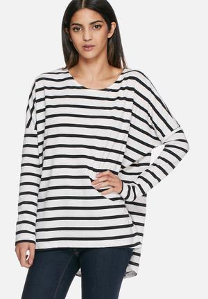 VILA Dreamers Stripe Top Blouses White / Black