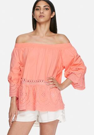 VILA Tila Off Shoulder Top Blouses Bright Coral