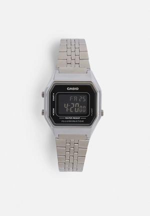 Casio Digital Wrist Watch LA680WA-1BDF Silver & Black