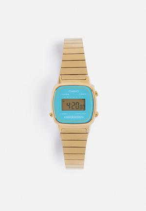 Casio Digital Wrist Watch  Gold & Turquoise