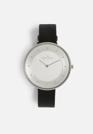 Skagen Gitte Leather Watches Black / Silver