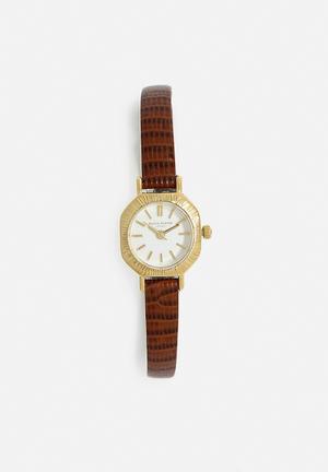 Olivia Burton Mini Antiques Watches Brown & Gold