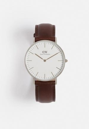 Daniel Wellington Bristol Watches Silver & Brown