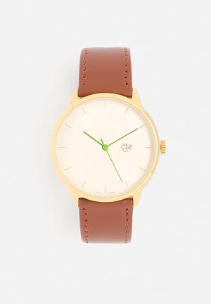 CHPO Nawroz Watches Gold Dial / Brown Vegan Leather Strap