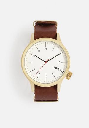 Komono  Magnus Watches Brown / White / Gold