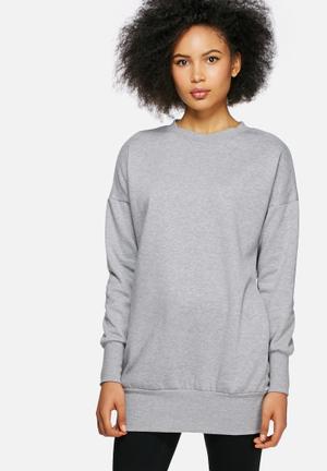 Dailyfriday Longline Sweat Top Hoodies & Jackets Light Grey Melange