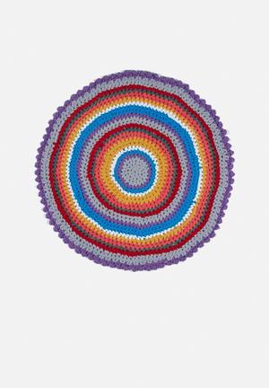 Rainbow yarn rug