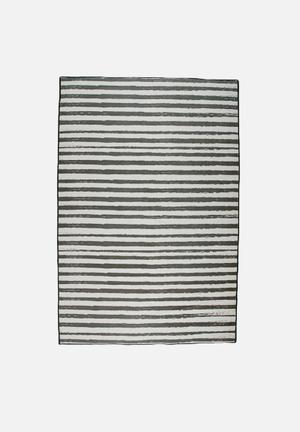 Sixth Floor Coal Stripe Printed Rug 100% Polyester