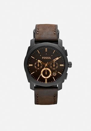 Fossil Machine Watches  Black, Brown & Gold