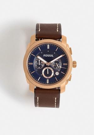Fossil Machine Watches Dark Brown, Rose Gold & Blue