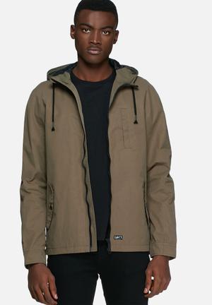 Blend Drawstring Hooded Jacket Khaki