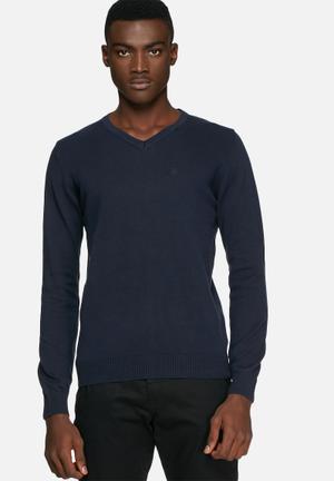 Blend V-Neck Knit Pullover Knitwear Navy