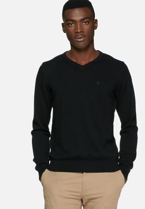 Blend V-Neck Knit Pullover Knitwear Black