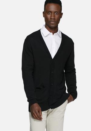 Casual Friday Liam Knit Cardigan Knitwear Black