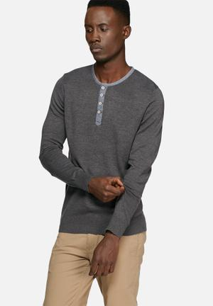 Casual Friday Henley Pullover Knitwear Charcoal