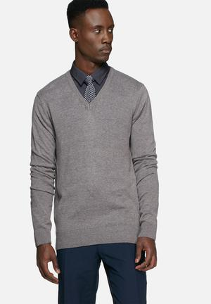 Casual Friday Claude Knit Pullover Knitwear Grey Melange
