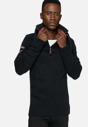 Superdry. Oslo Hooded Henley Knitwear Navy