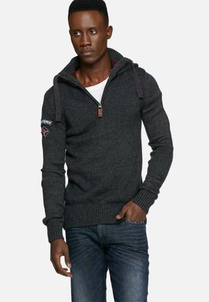 Superdry. Oslo Hooded Henley Knitwear Charcoal