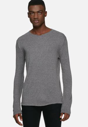 Solid Birtie Jersey Knitwear Grey Melange