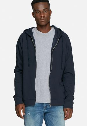 Basicthread Full Zip Hoodie Hoodies & Sweatshirts Navy