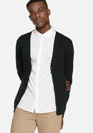Tailored & Originals Kensal Button-up Sweater Knitwear Black