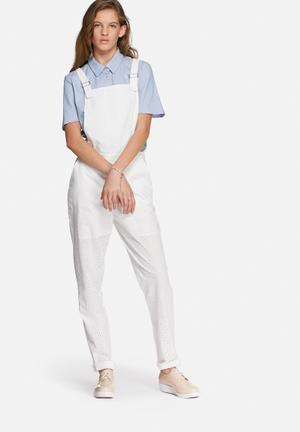Vero Moda Luna Lace Dungaree Jumpsuits & Playsuits White