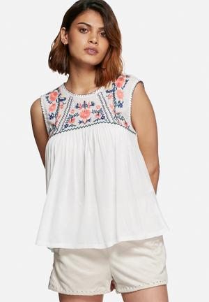 Vero Moda Larisa Embroidered Top Blouses White