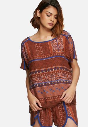 Vero Moda Stine Top Blouses Brown & Blue