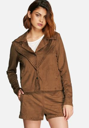 Vero Moda Sweeney Faux Suede Jacket Brown