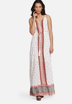 Vero Moda Lupita Maxi Dress Casual White, Orange & Green