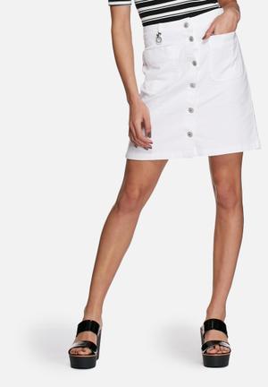 ONLY Farrah Denim A-line Skirt White