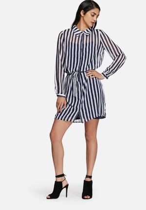 Chane striped shirt dress