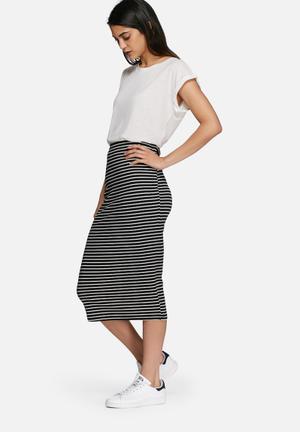 Dailyfriday Midi Striped Pencil Skirt Black & White