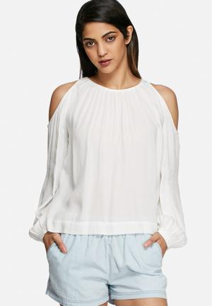 Vero Moda Frida Cold Shoulder Top Blouses White