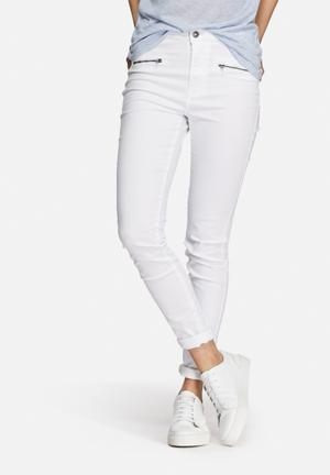 Vero Moda Majse Slim Zipper Pants Trousers White