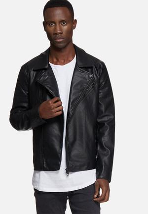 Only & Sons Jan PU Biker Jackets Black