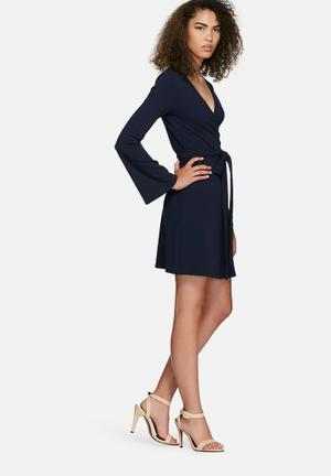 Dailyfriday Fluted Sleeve Wrap Dress Formal Navy