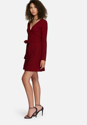Dailyfriday Fluted Sleeve Wrap Dress Formal Burgundy