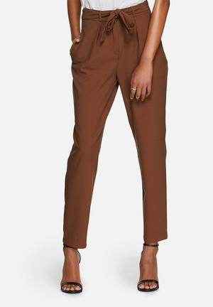 ONLY Jupiter Bow Ankle Pants Trousers Brown