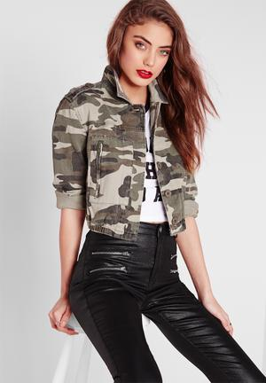 Missguided Cropped Camo Jacket Khaki