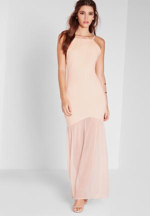Missguided Fishtail Maxi Dress Occasion Nude