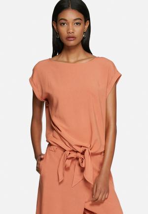 Selected Femme Ella Tie Top Blouses Orange