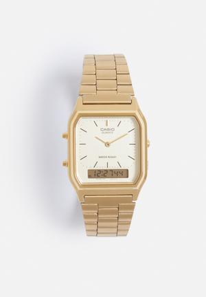 Casio Anadigi Dual Time Watch Gold