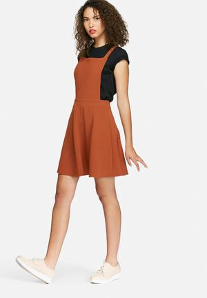 Dailyfriday Crepe Pinafore Dress Casual Burnt Orange