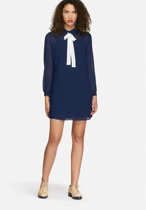 Dailyfriday Chiffon Collared Tunic Dress Formal Navy
