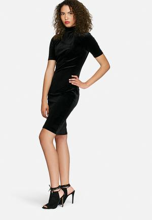Dailyfriday High Neck Velvet Bodycon Dress Formal Black