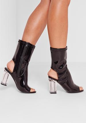 Missguided Perspex Heel Bootie Black